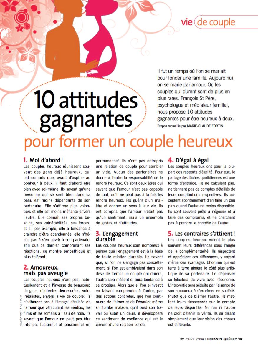 10 attitudes gagnantes pour former un couple heureux